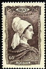 FRANCE COIFFE DE PICARDIE  TIMBRE NEUF N° 593  **  MNH 1943  B4
