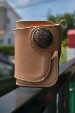Handmade Genuine Leather Short Wallet Bifold Biker