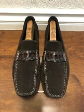 santoni Mens Suede Slip On Brown Shoes Size 11.5 US