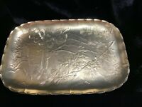 Vintage Arthur Armour Aluminum Rectangular Platter With Forest Pattern
