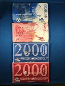 1999 & 2000 Uncirculated US Mint Sets (4 sets) ~ w/Statehood Quarters ~ 38 coins
