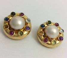 18K YELLOW GOLD MABE PEARL SAPPHIRE TOURMALINE AMETHYST CLIP EARRINGS