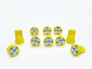 10 Yellow Jeep *SUPER BRIGHT* 12V LED 194 Wedge Instrument Panel Light Bulbs NOS