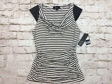 BCX Top Small Black Striped Drape Neck Faux Leather Trim S Juniors Womens New
