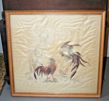 Antique Chinese Silk Embroidery Cock Fight Rooster Japanese Embroidered Panel #1