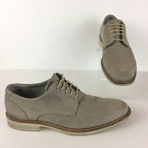 ECCO Men's Size EU 43 (US 9) Grey Genuine Nubuck Leather Lace Up Oxfords
