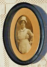 ANTIQUE EARLY 20th CENTURY OVAL FRAMED PORTRAIT OF UNKNOWN UNIFORMED WOMAN