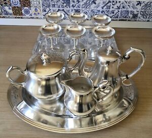 Old Christofle Silver Plated 11 coffee set pot ice cream cups tray sugar creamer
