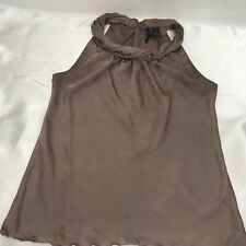 New Directions Womens M Casual Ruched Neckline Tank Top Brown/ Beige Semi Sheer