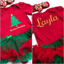Personalised Baby Girl Tutu Dress My First 1st Christmas Outfit Newborn Party
