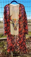 PEACH LOVE CA COWGIRL GYPSY  FLORAL Duster Kimono Cardigan Western BOHO LARGE