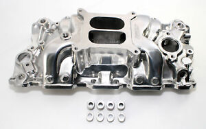 Small Block Chevy High Rise Polished Dual Aluminum Intake Manifold 1500-6500