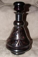ANTIQUE Italian Venetian Glass DECANTER Amethyst Purple w/ Silver Overlay