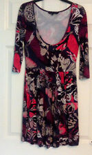 French Connection Ladies Multi Colour Butterfly Print 3/4 Sleeve Dress Size 12
