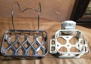 Antique Vtg Retro Art Deco Metal Cup Toothbrush Holder Wall Soap Bath Tub Orig