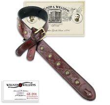Walker & Williams GE-201 Antique Garnet Brown Padded Guitar Strap w/Brass Studs