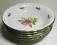 6 WINTERLING Bavaria GERMANY Rose Buds #23-Fruit- Dessert-Berry Bowls -Gold Rims