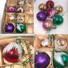 🌈7 VIntage Pretty Glass Christmas Tree Baubles Decorations Ornaments Box