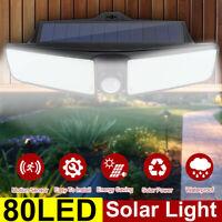 2X 80LED Solar Power Wall Light PIR Motion Sensor Outdoor Garden Lamp