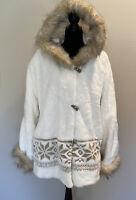 Midnight Velvet Soft Eskimo hooded jacket faux fur button down fur trimmed coat