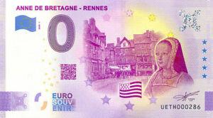 35 RENNES Anne de Bretagne, N° de la 3ème liasse, 2020, Billet Euro Souvenir