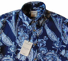 Men's MURANO Navy Blue White Paisley Floral Shirt S Small NEW NWT Nice!