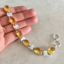 """NATURAL OVAL YELLOW CITRINE 925 STERLING SILVER LINK CHAIN BRACELET 7.5"""" HANDMAD"""