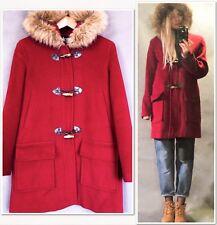 Wool Angora Marvin Richards Red Fur Trim Hood Duffle Coat, M