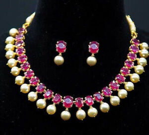 NATURAL PRECIOUS GEMSTONES RUBY NECKLACE EARRINGS  WITH GOLDEN PEARL HANGING