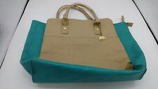 Big Buddha Women's Tan & Teal Handbag/Purse Satchel, Inside Zip & Open Pockets