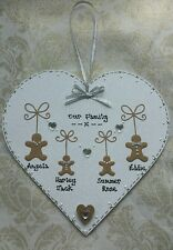 STUNNING- personalised 'GINGERBREAD FAMILY' large heart (silver)BEAUTIFUL GIFT