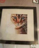 """Lanarte Cat Close-Up Animals Collection Counted Cross Stitch Kit 6.7"""" x 6.7"""" NEW"""