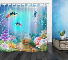 "72"" Ocean Coral Starfish Fabric Shower Curtain Set Waterproof Bathroom accessory"