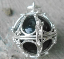 925 Sterling Silver Balinese Harmony Ball Pendant Locket (Black Ball)-SALE