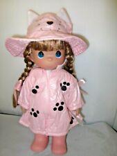 """Precious Moments Friends Come Rain or Shine Cat Hat Rain Coat 13"""" Doll NEW Meow"""