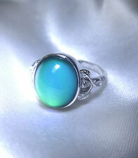 STERLING SILVER Oval MOOD RING Sz 6¼ UK M Fully Hallmarked Slight cosmetic flaw