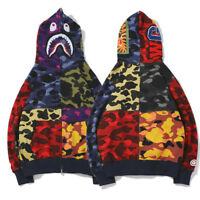 Bape A Bathing Ape PATCHWORK Camo Shark Head Fleece Hoodie Jacket Sweatshirt