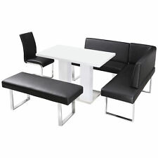 High Gloss Dining Table and Chair Set with Corner Bench & 1 Seat   Black White