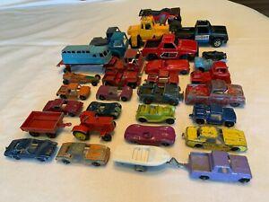 Tootsietoy Midgetoy Vintage Diecast Lot of 30 Cars Trucks 1970s 60s Boat Trailer