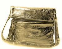Echt Leder Tasche Schultertasche Umhängetasche Clutchtasche gold