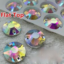 Sew On Round Flat Top Glass AB Clear 2 Holes Crystal Rhinestone Silver Flatback