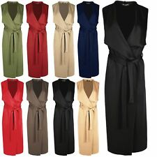 Womens Ladies Sleeveless Open Front Crepe Belted Waterfall Duster Cape Cardigan