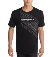 Karl Lagerfeld Mens T-Shirt Black Size Large L Embroidered Graphic Tee $69 251