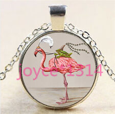 Flamingo and Frog Cabochon Tibetan silver Glass Chain Pendant Necklace #6219