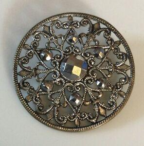 Large Antique Filigree Pierced Metal Cut Steel Button Ornate Intricate Design