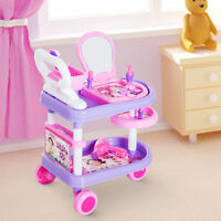 HOMCOM Dresser Trolley Makeup Role Play Toy Creative Fun DIY -Purple & Pink