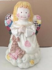 Ceramic Christmas Angel with Bunny Cookie Jar, Huge Detail, Free Shipping