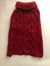"""Small Red Cable Knit Dog Sweater 14"""" Length New without Tags for Charity"""