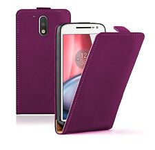 Motorola Moto G4 / G4 Plus SLIM PURPLE Leather Flip Case Cover Pouch  + 2 FILMS