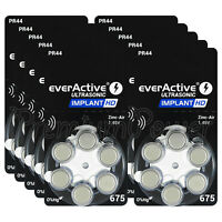 60 x everActive 675 Size Hearing aid batteries Cochlear Implant cells PR44 MF